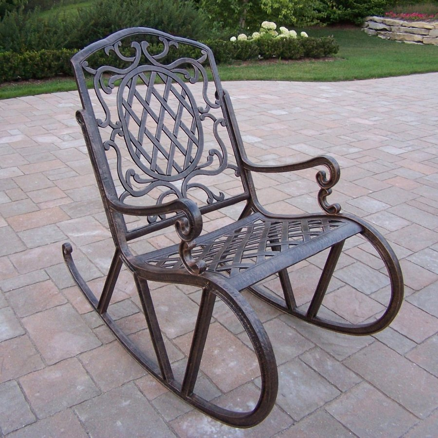 shop oakland living mississippi antique bronze aluminum patio rocking chair at. Black Bedroom Furniture Sets. Home Design Ideas
