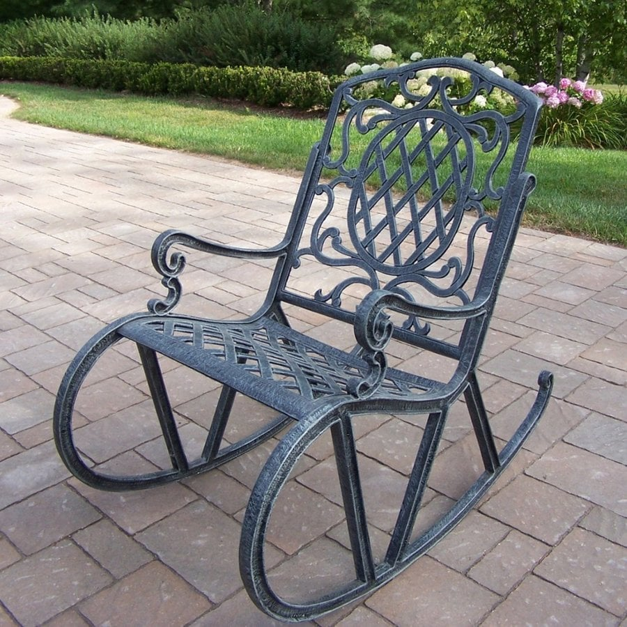 Oakland Living Mississippi Verdi Grey Aluminum Patio Rocking Chair