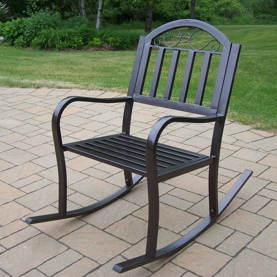 Oakland Living Rochester Hammer Tone Bronze Iron Patio Rocking Chair