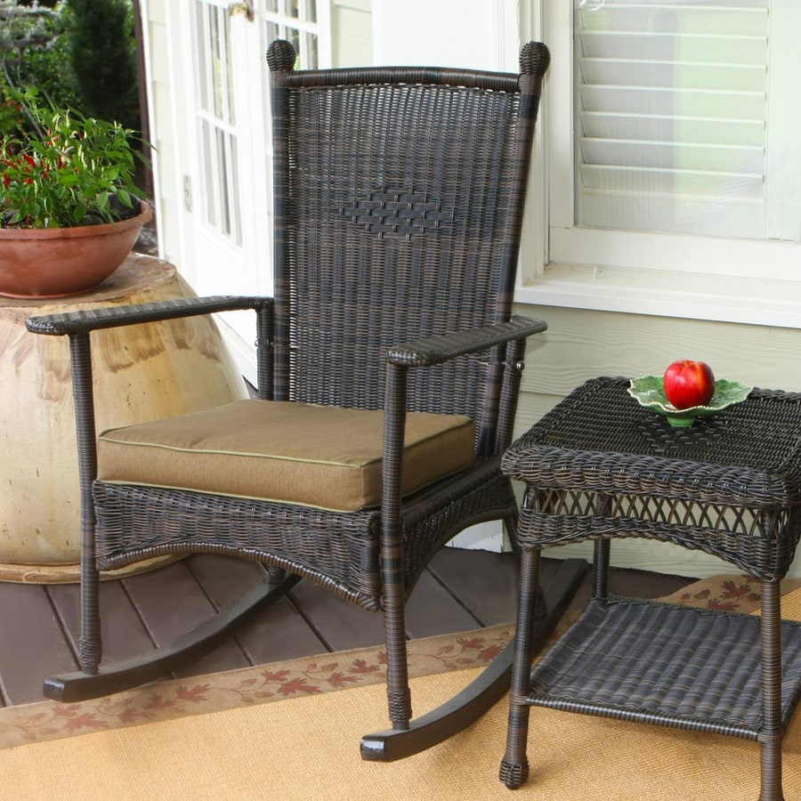 Tortuga Outdoor Portside Wicker Rocking Chair With Khaki Cushion