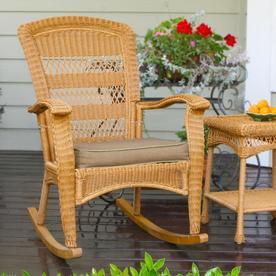 Tortuga Outdoor Portside Wicker Rocking Chair With Dark Khaki Cushion