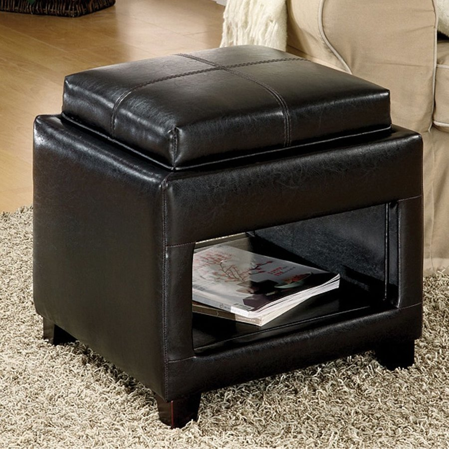 Furniture of America Elya Espresso Square Storage Ottoman