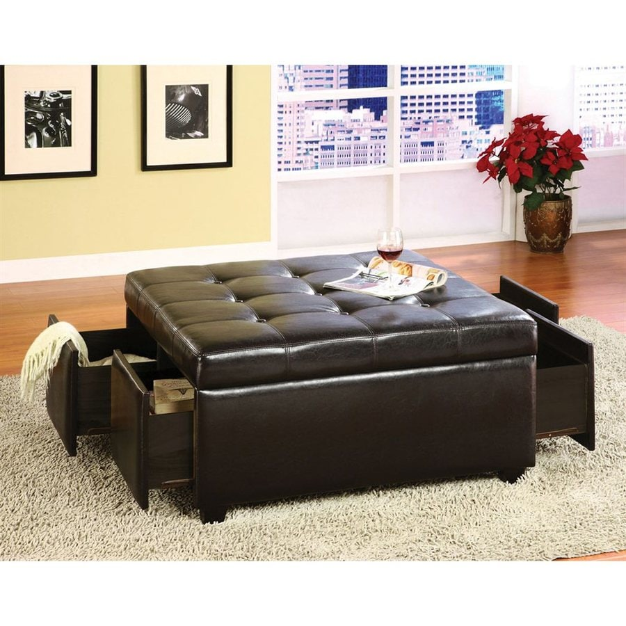 Charming Furniture Of America Petula Casual Espresso Faux Leather Storage Ottoman