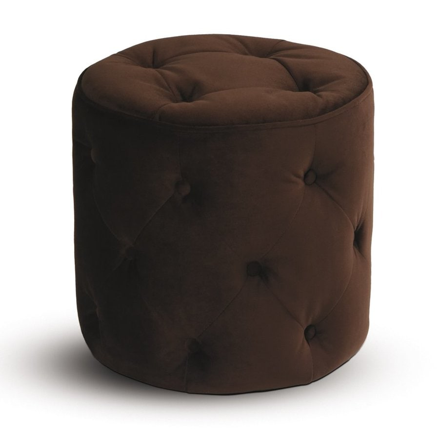 Office Star Avenue Six Chocolate Velvet Round Ottoman