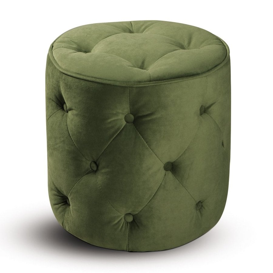 Office Star Avenue Six Spring Green Velvet Round Ottoman