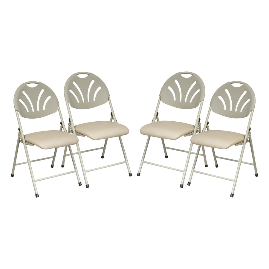 Shop Office Star 4-Pack Indoor Beige Standard Folding Chair at Lowes.com