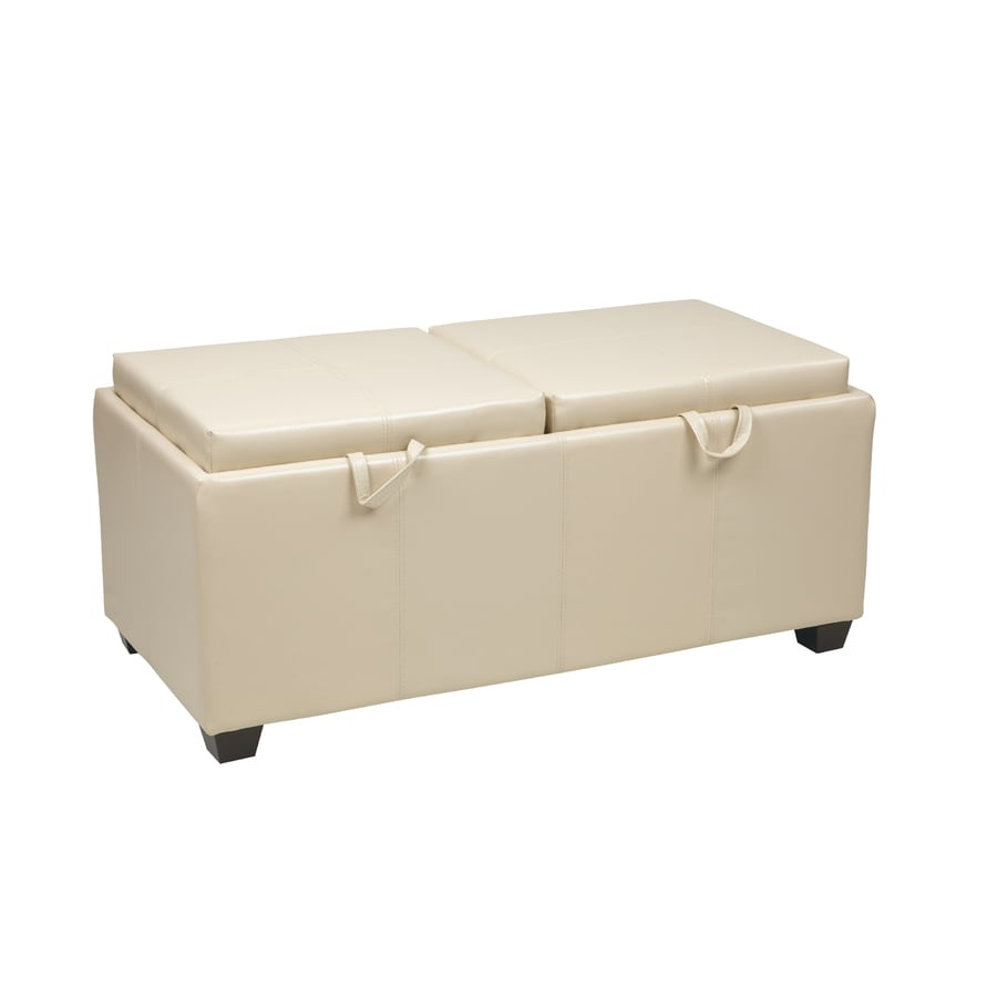 Office Star Metro Cream Rectangle Storage Ottoman
