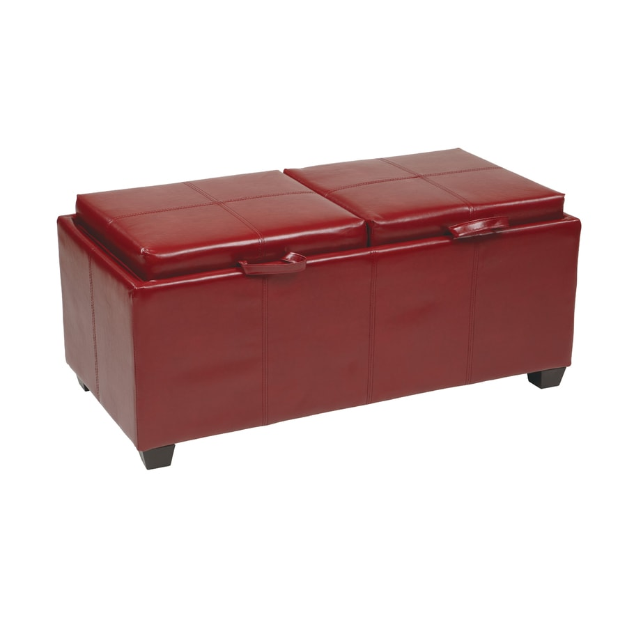 Office Star Metro Crimson red Faux Leather Ottoman
