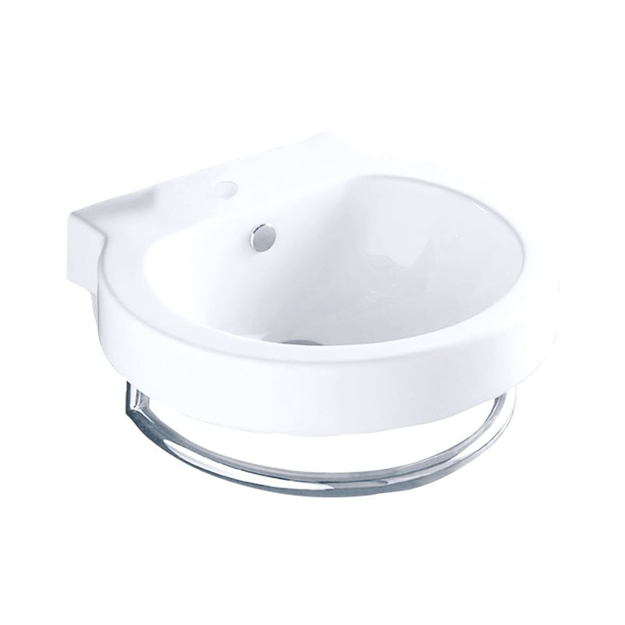 Elements of Design Country White Wall-Mount Round Bathroom Sink with Overflow