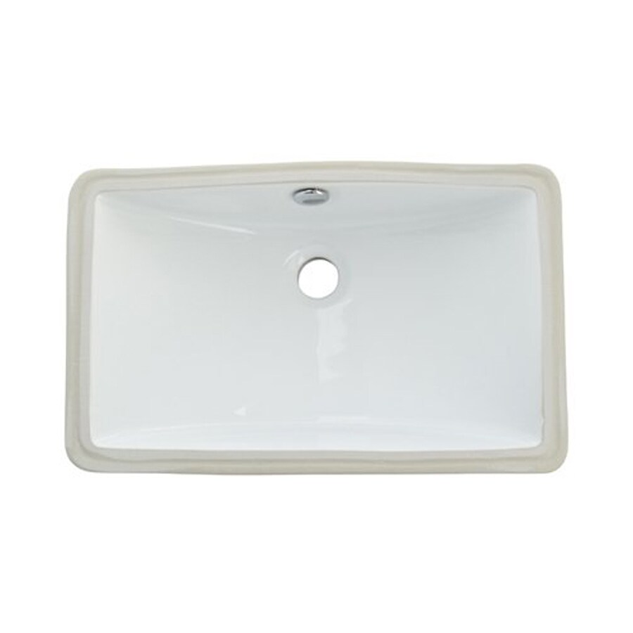 Elements of Design Courtyard White Rectangular Bathroom Sink with Overflow