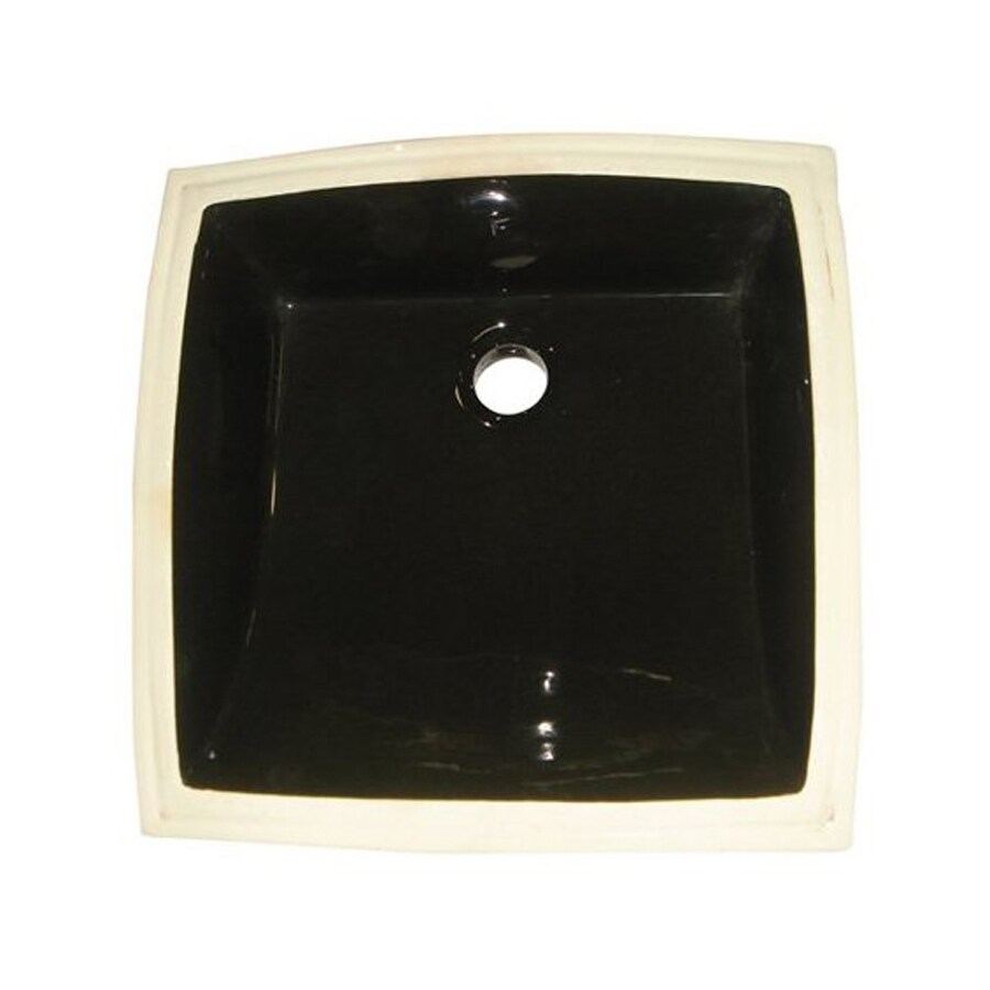 Elements of Design Cove Black Undermount Square Bathroom Sink with Overflow