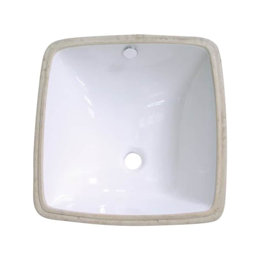 Elements of Design Vista White Undermount Square Bathroom Sink with Overflow