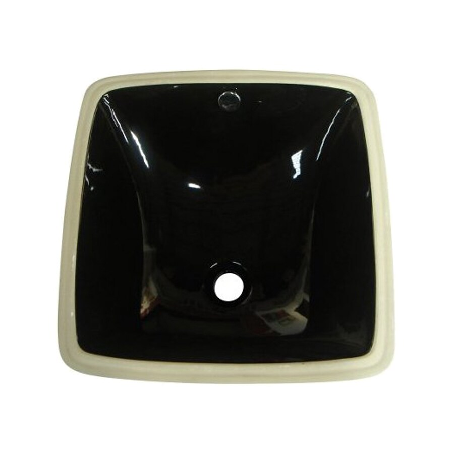 Shop Elements Of Design Vista Black Undermount Square Bathroom Sink With Overflow At