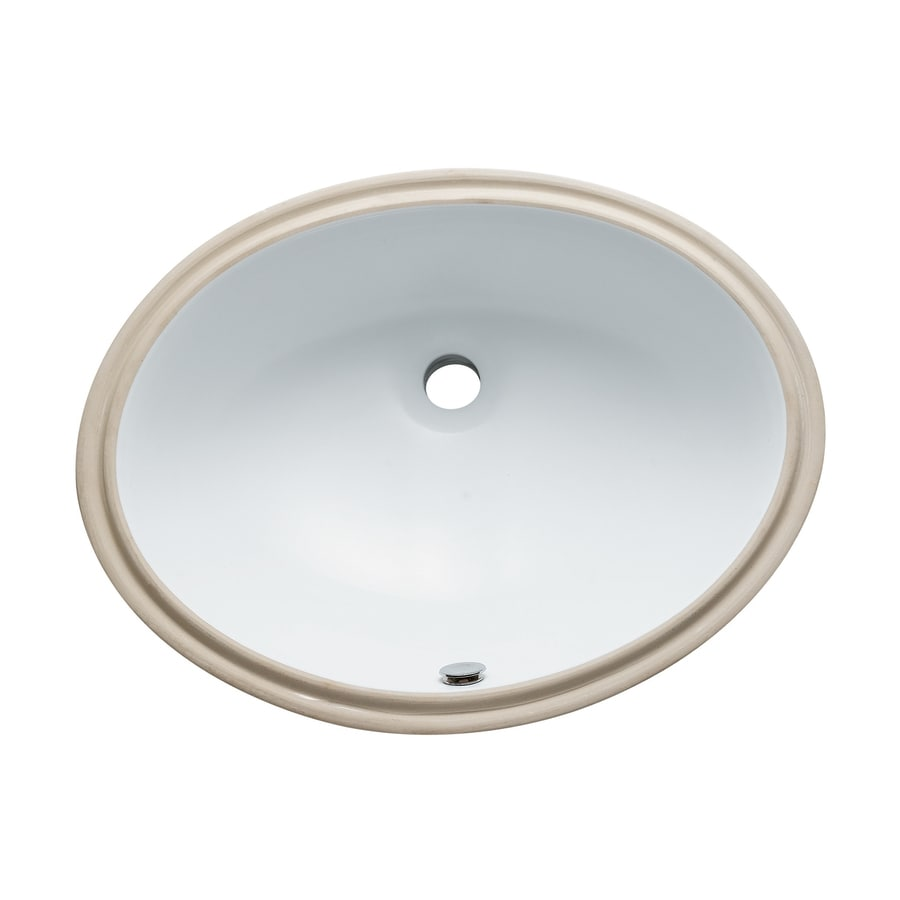 Shop Elements Of Design Courtyard White Undermount Oval Bathroom Sink With Overflow At