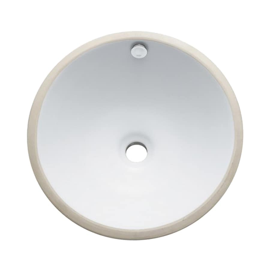 Shop Elements Of Design Courtyard White Undermount Round Bathroom Sink With Overflow At