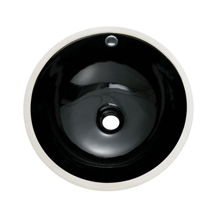 Elements of Design Courtyard Black Undermount Round Bathroom Sink with Overflow