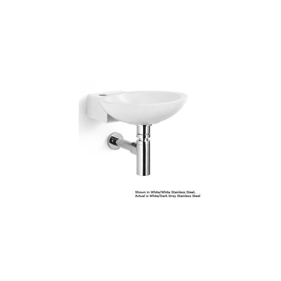 Shop Ws Bath Collections Linea White Dark Grey Stainless Steel Stainless Steel Wall Mount Round
