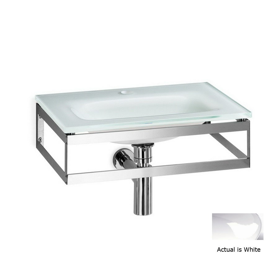 WS Bath Collections Linea White Glass Wall-Mount Rectangular Bathroom Sink Drain Included