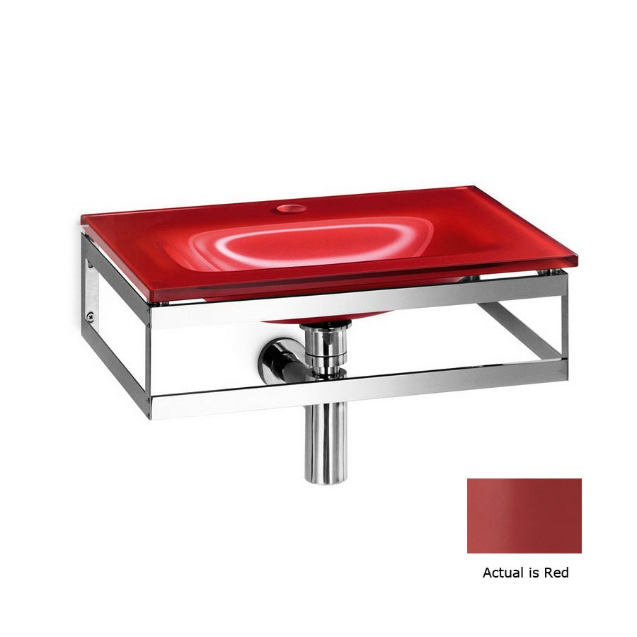 WS Bath Collections Linea Red Glass Wall-Mount Rectangular Bathroom Sink Drain Included