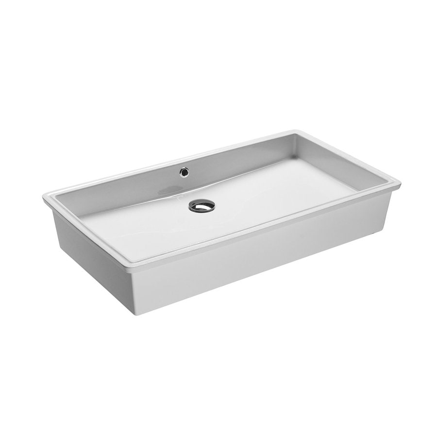 WS Bath Collections GSI White Ceramic Undermount Rectangular Bathroom Sink with Overflow