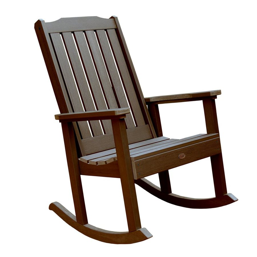Shop highwood usa lehigh weathered acorn plastic patio for Rocking chair