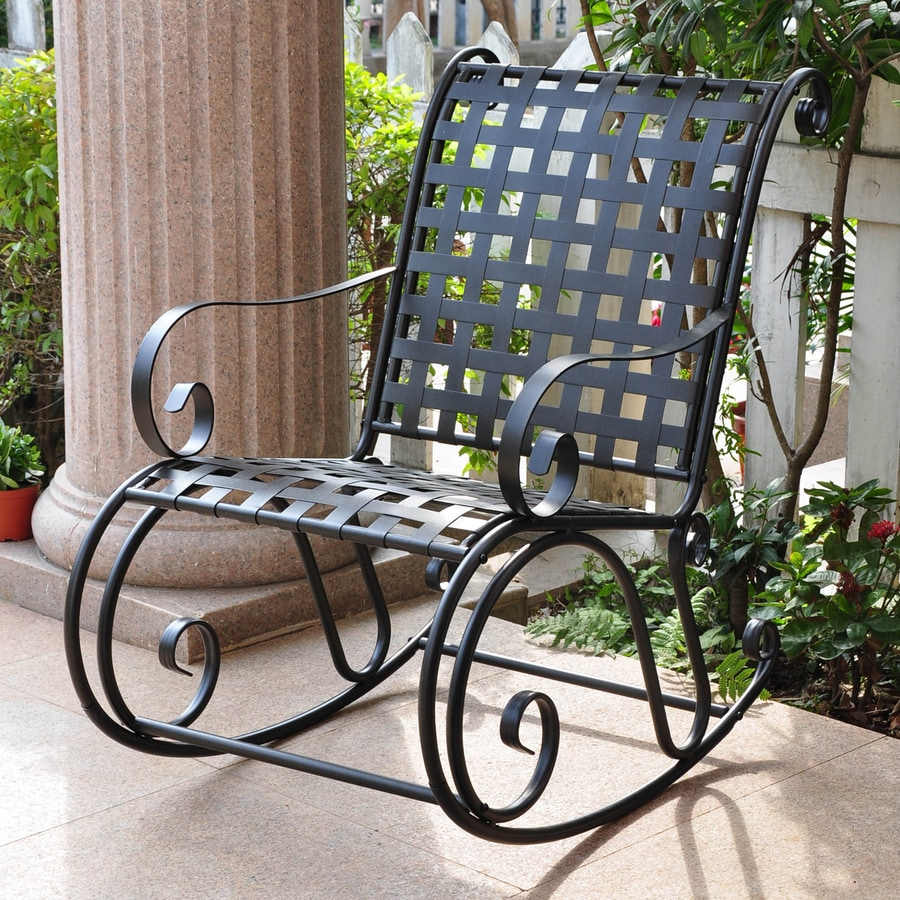 Shop international caravan antique black steel patio for Black porch furniture
