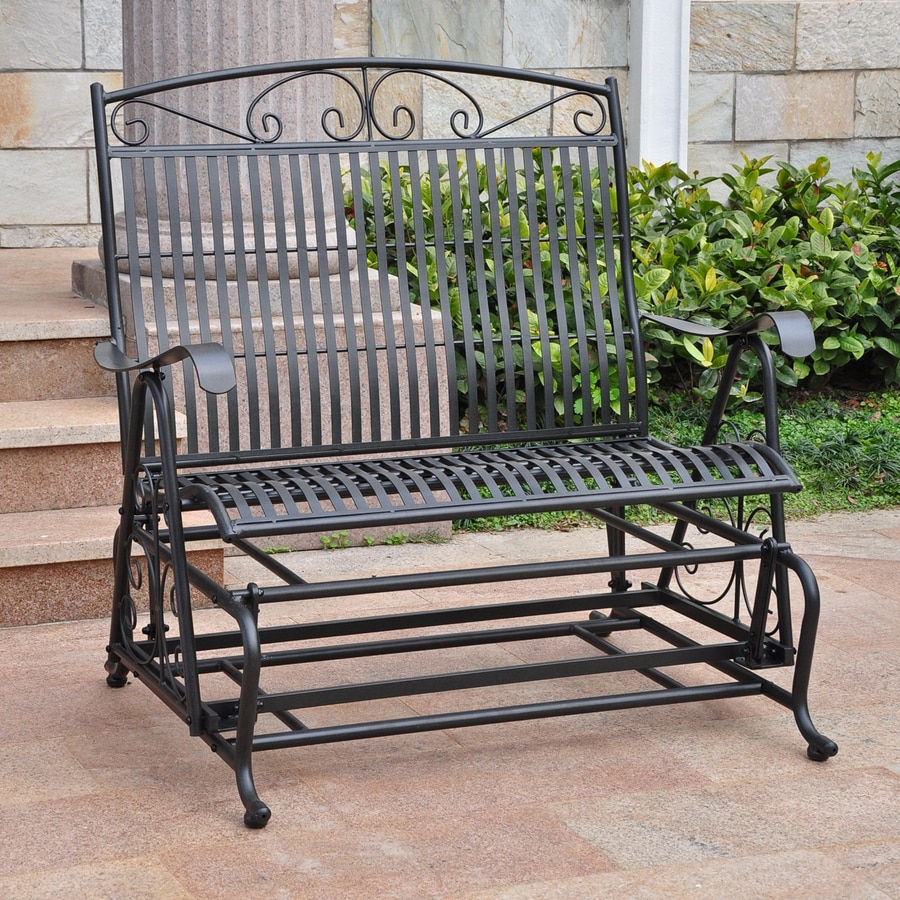 Shop international caravan antique black porch glider at Wrought iron outdoor bench