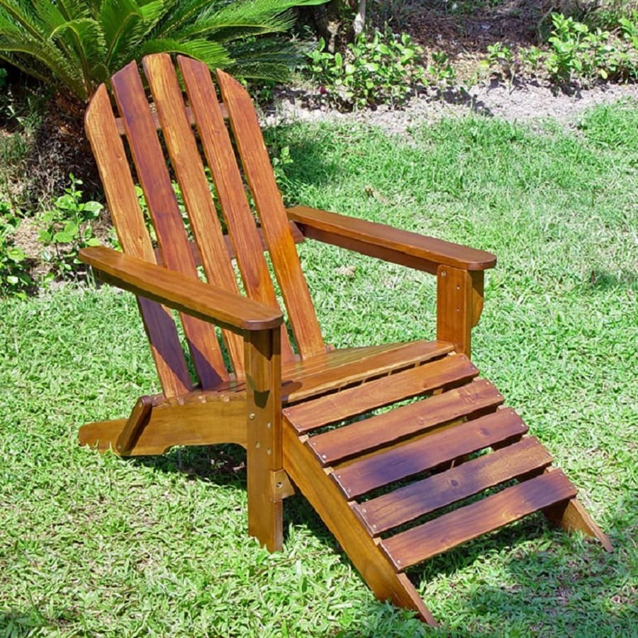 Shop international caravan acacia patio adirondack chair for Adirondack chaise lounge plans