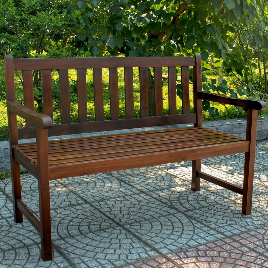 International Caravan 24 5 in W x 48 25 in L Acaia Patio Bench. Shop International Caravan 24 5 in W x 48 25 in L Acaia Patio