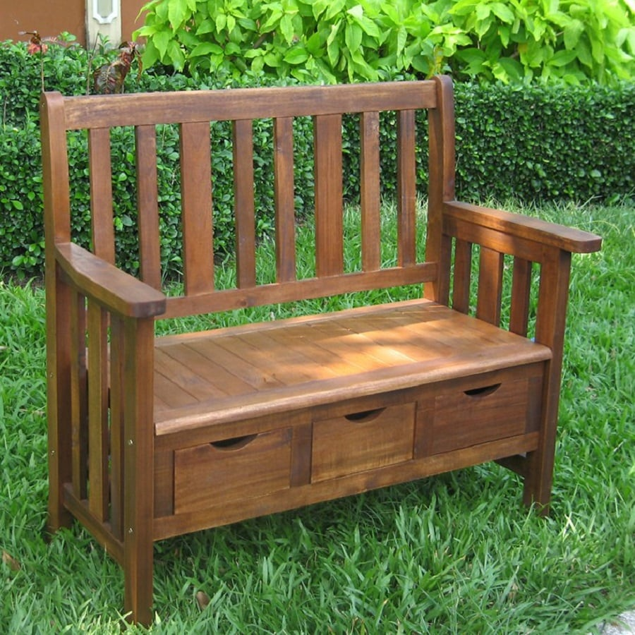 International Caravan 19.5-in W x 39.5-in L Acaia Patio Bench