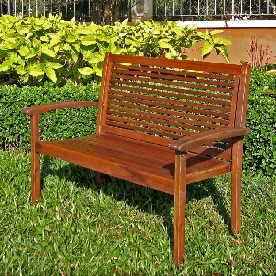 International Caravan 20-in W x 43-in L Acaia Patio Bench