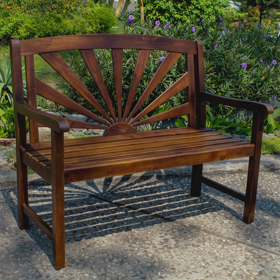 International Caravan 23.25-in W x 43.25-in L Acaia Patio Bench