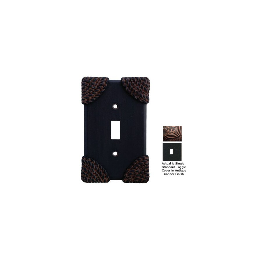Anne at Home Roguery 1-Gang Antique Copper Standard Toggle Pewter Wall Plate