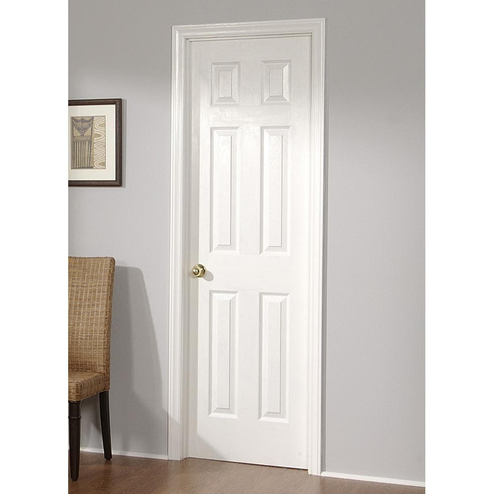 "Bedroom Door: ReliaBilt® 28"" Right Hand 6-Panel Primed Molded Interior"