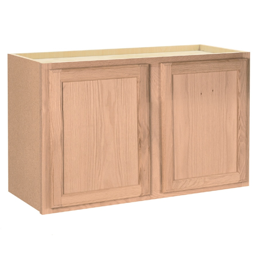Project Source 36-in W x 15-in H x 12-in D Unfinished Brown/Tan Oak Door Wall Cabinet