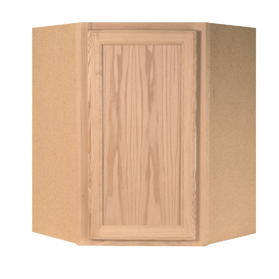 Project Source 23.75-in W x 30-in H x 11.9375-in D Unfinished Brown/Tan Oak Corner Wall Cabinet