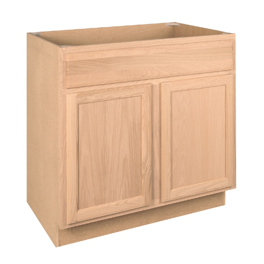 Project Source 36-in W x 34.5-in H x 24-in D Unfinished Brown/Tan Oak Sink Base Cabinet