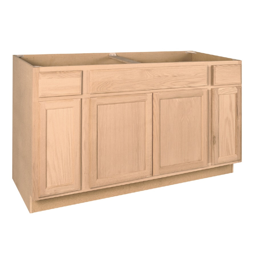 shop project source 60 in w x 34 5 in h x 24 in d unfinished brown tan oak sink base cabinet at. Black Bedroom Furniture Sets. Home Design Ideas