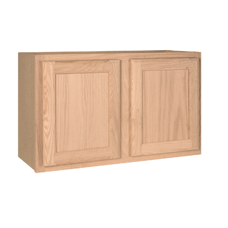 Unfinished brown oak double door kitchen wall cabinet at lowes com -  Unfinished Brown Tan Oak Door Wall Cabinet Product Image 1 Project Source 30 In W X 18 In H X 12 In D
