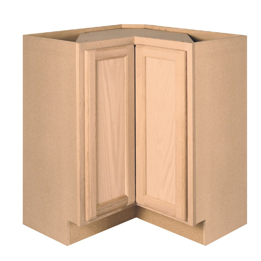 Project Source 36-in W x 34.5-in H x 15-in D Unfinished Brown/Tan Oak Lazy Susan Base Cabinet