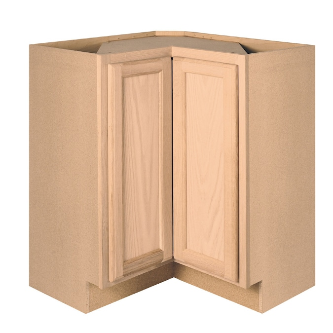 Project Source 36 In W X 34 5 In H X 15 In D Brown Tan Unfinished Oak Lazy Susan Corner Base Stock Cabinet In The Stock Kitchen Cabinets Department At Lowes Com