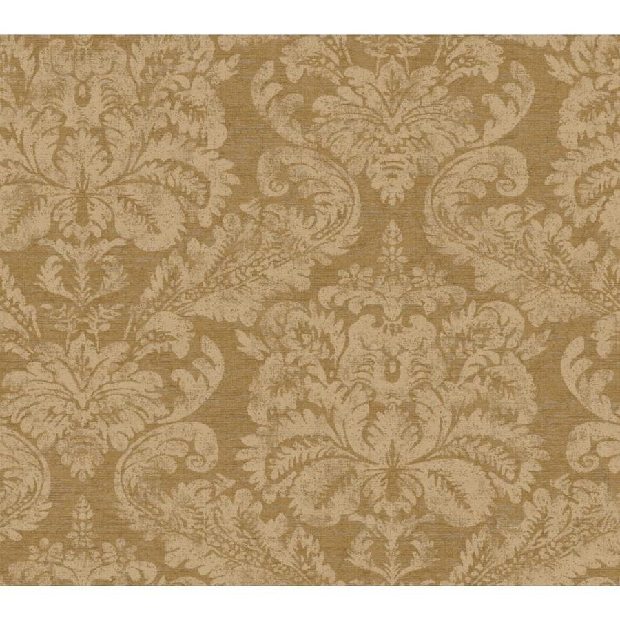 Inspired By Color Metallics Book Brown and Tan Paper Damask Wallpaper