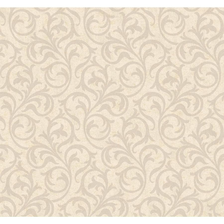 York Wallcoverings Beige Book Silver, Off-White Paper Scroll Wallpaper