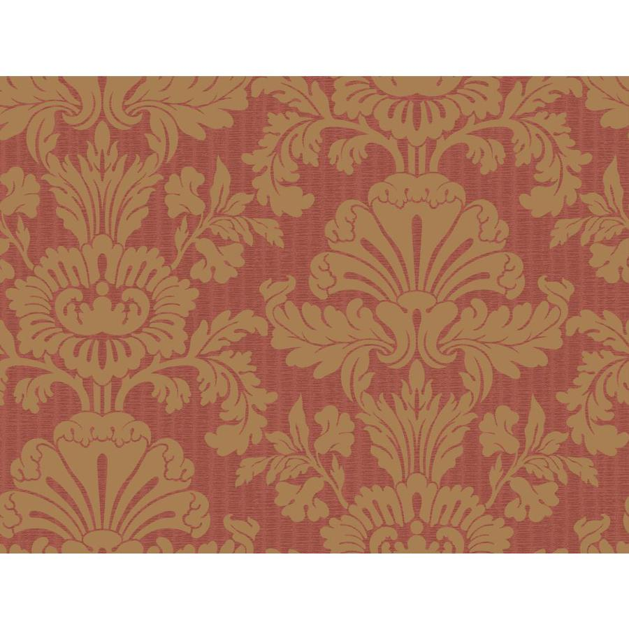 York Wallcoverings Red and Gold Paper Damask Wallpaper