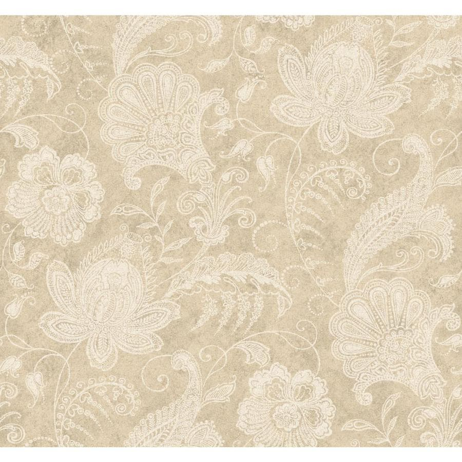York Wallcoverings Beige Book Beige Paper Textured Floral Wallpaper