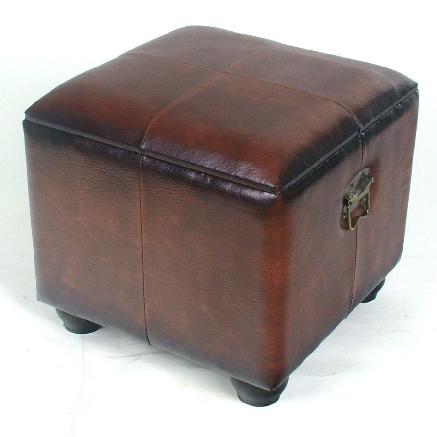 International Caravan Istanbul Brown Faux Leather Ottoman