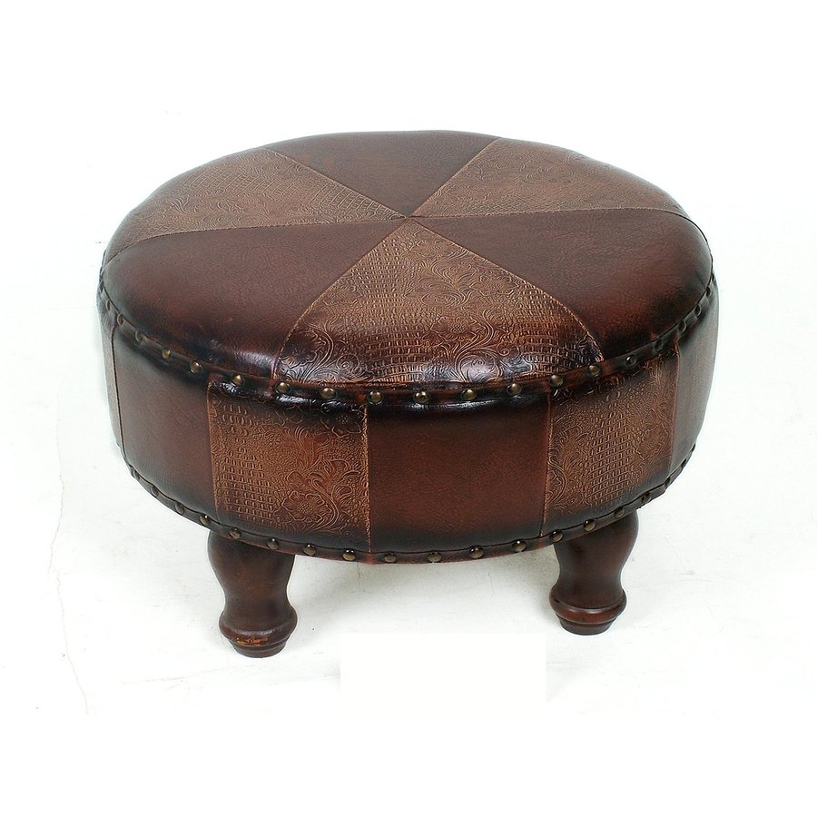 International Caravan Istanbul Patchwork Round Ottoman