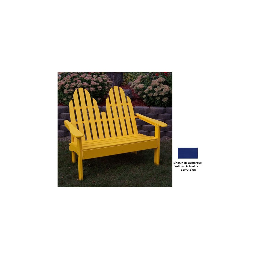 Prairie Leisure Design 28-in W x 52-in L Berry Blue Pine Patio Bench