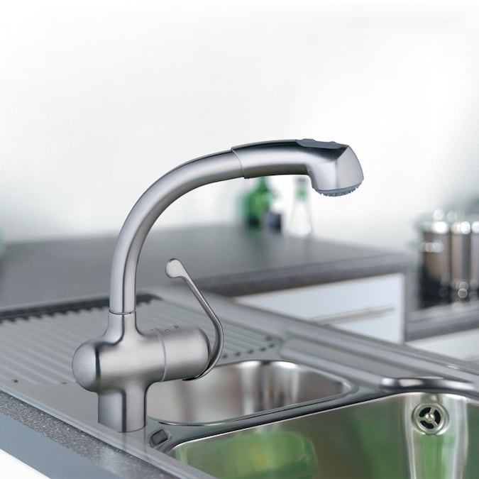Grohe Ladylux Plus Stainless Steel 1 Handle Deck Mount Pull Out Kitchen Faucet In The Kitchen Faucets Department At Lowes Com