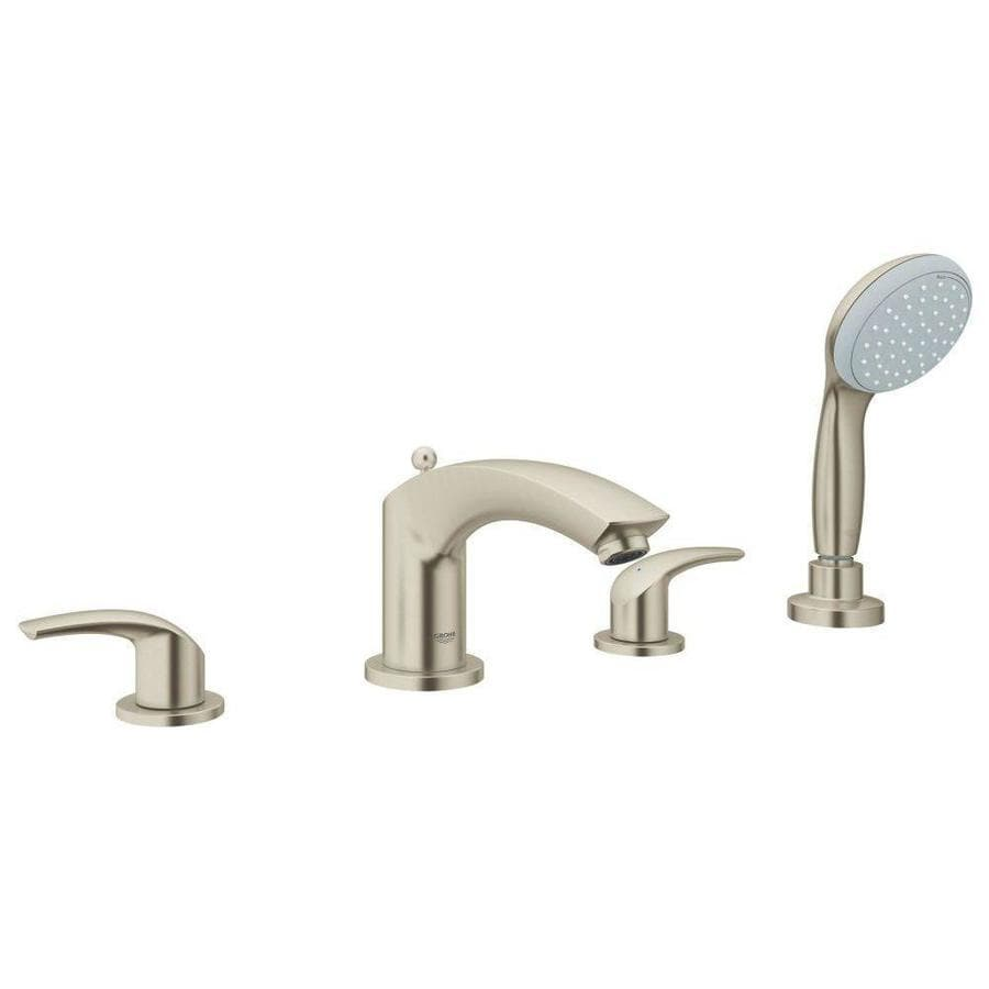 GROHE Eurosmart Brushed Nickel 2-Handle Deck Mount Bathtub Faucet